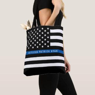 Tote Bag Le drapeau américain mince de Blue Line de police