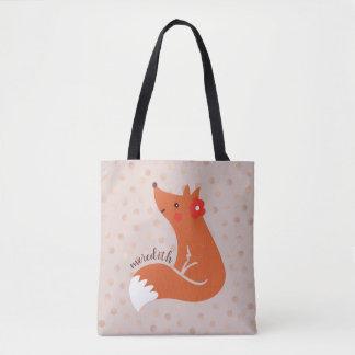 Tote Bag Le Fox mignon avec la fleur/rougissent arrière -