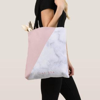 Tote Bag le marbre blanc géométrique de poussin élégant