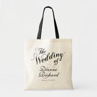 Tote Bag le mariage de… noir (de noms faits sur commande)