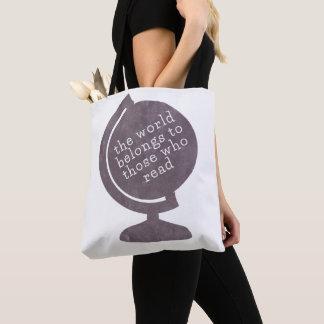 Tote Bag Le monde de cartable appartient à ceux qui lisent