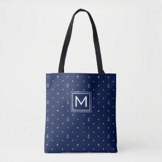 Tote Bag Le motif de pois d'ancre   ajoutent votre initiale