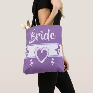 Tote Bag Le nom de la jeune mariée pourpre et lilas de