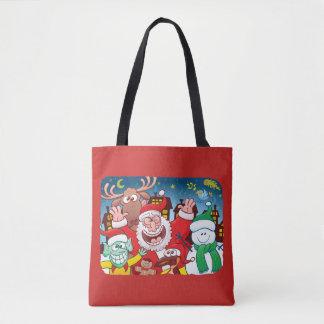 Tote Bag Le père noël et son équipe sont prêts pour Noël