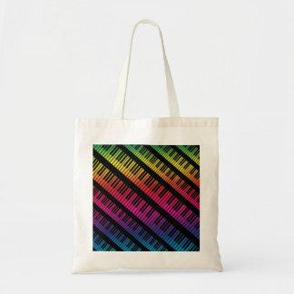 Tote Bag Le piano verrouille l'arc-en-ciel de couleur