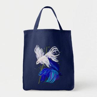 """Tote Bag Le poisson de combat siamois blanc bleu de """"n"""" met"""