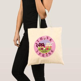 Tote Bag Le rose floral de tulipes de chats pensent mignon