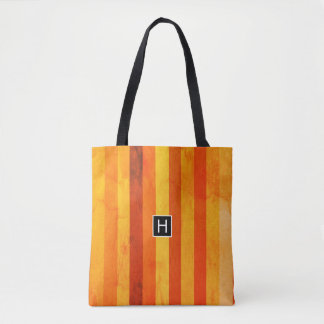 Tote Bag Le rouge orange patiné chaud barre le monogramme