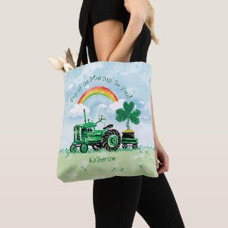Tote Bag Le shamrock vert vintage de tracteur ajoutent le