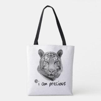Tote Bag Le tigre blanc je suis précieux