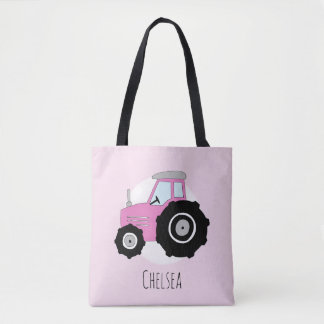 Tote Bag Le tracteur de l'agriculteur rose de la fille
