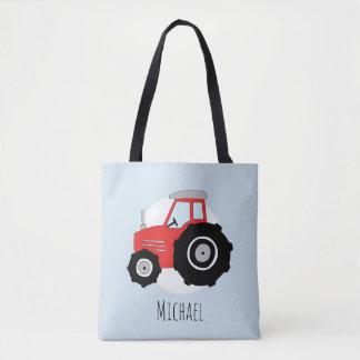 Tote Bag Le tracteur de l'agriculteur rouge du garçon