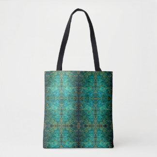 Tote Bag Le vert bleu a marbré l'or antique de conception