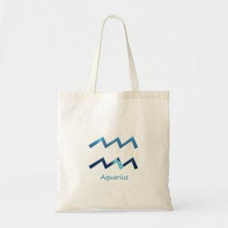 Tote Bag Le zodiaque bleu de Verseau se connectent le blanc