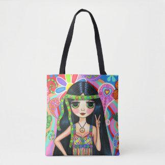 Tote Bag Les années 70 hippies psychédéliques des années 60
