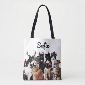 Tote Bag Les chats de fête d'aquarelle ont personnalisé des