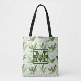 Tote Bag Les palmettes tropicales   ajoutent votre nom
