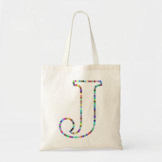 Tote Bag Lettre J d'étoile d'arc-en-ciel