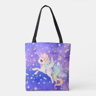 Tote Bag Licorne en pastel mignonne de galaxie