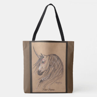 Tote Bag Licorne indigène personnalisée avec le nom