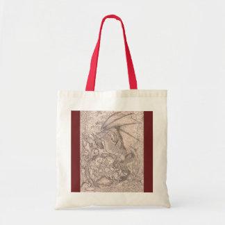Tote Bag Licorne magique brune bronzage de rouge de