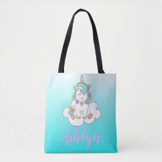 Tote Bag Licorne magique mystique sur un bleu de nom de