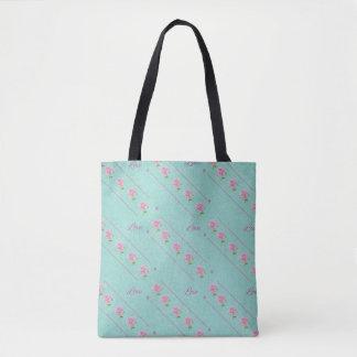 Tote Bag Lignes d'amour roses de roses vert bleu