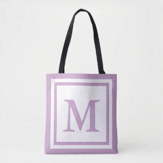 Tote Bag Lilas décoré d'un monogramme fait sur commande et