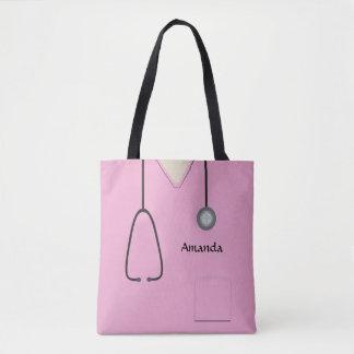 Tote Bag L'infirmière médicale frotte AOPMT rose