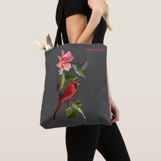 Tote Bag Lis rose de cardinal et de colibri personnalisé