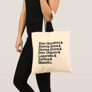 Tote Bag Liste des personnages fourre-tout de Don Giovanni