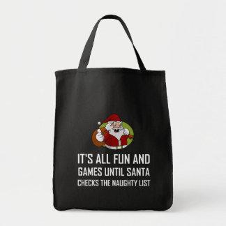 Tote Bag Liste vilaine de contrôles de Père Noël