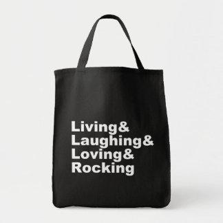 Tote Bag Living&Laughing&Loving&ROCKING (blanc)