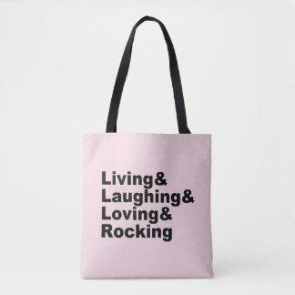 Tote Bag Living&Laughing&Loving&ROCKING (noir)