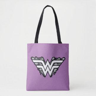 Tote Bag Logo de dentelle de noir de femme de merveille