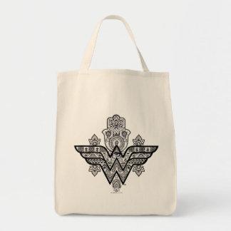 Tote Bag Logo spirituel de Paisley Hamsa de femme de
