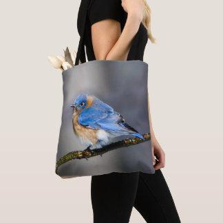 Tote Bag L'oiseau bleu oriental sur la glace a couvert le