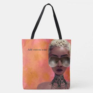 Tote Bag L'orange blonde d'art noir de beauté de baie de