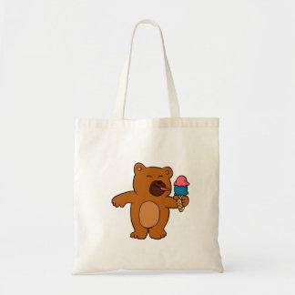 Tote Bag L'ours de bande dessinée mange la crème glacée