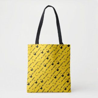 Tote Bag M. Happy | tout le motif de sourires