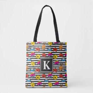 Tote Bag M. Men et petit monogramme du motif | de rayures