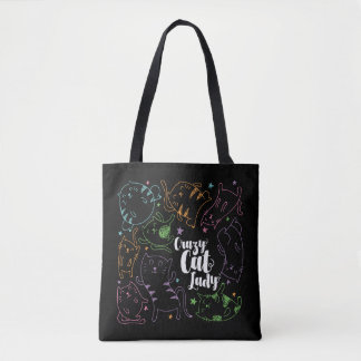 Tote Bag Madame folle Colorful Cartoon Pattern Gift de chat