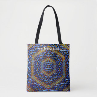 Tote Bag Magen David métallique fleuri