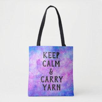 Tote Bag Maintenez calme et portez le pourpre de fil