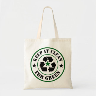 Tote Bag Maintenez-le propre pour le logo vert