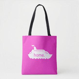 Tote Bag Maison de bateau de croisière - rose indien