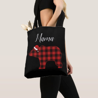 Tote Bag Maman Bear Lovely Buffalo Plaid