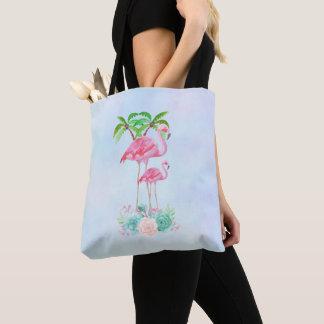 Tote Bag Mamans et bébé roses de flamant avec des palmiers