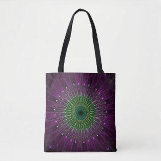 Tote Bag Mandala pourpre et vert