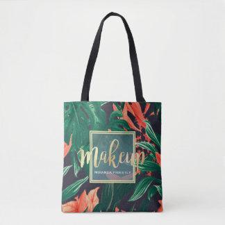 Tote Bag Manuscrit d'or et salon de beauté floral tropical